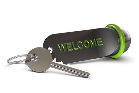 Hotel Key and green keyring with the word welcome written on it Stock Photo - 16897516