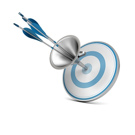 One blue target pierced by three arrows thanks to a funnel, image over white background Stock Photo - 16897522
