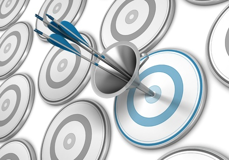 multiple targets: Many targets and a blue one pierced by three arrows thanks to a funnel