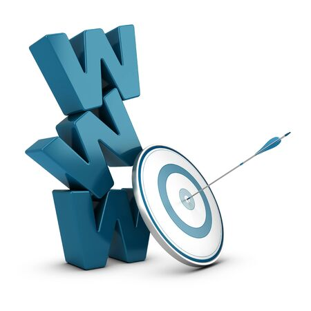 optimized: WWW 3D blue letters pile over white background with a target and one arrow hitting the center Stock Photo