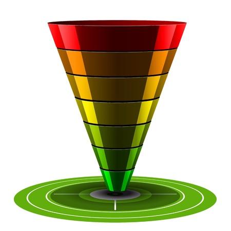Zwarte conversie of sales funnel gemakkelijk aan te passen, van 1 tot 7 niveaus plus op doel, vector graphics. witte en grijze tinten. Vector Illustratie