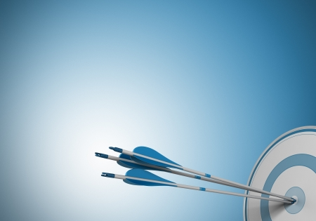 objective: three arrows hitting the center of a target  Image over a blue background with free space for text Stock Photo