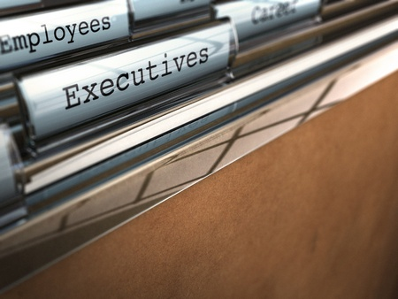 wage earner: word executive written on a folder with perspective view and blur effect