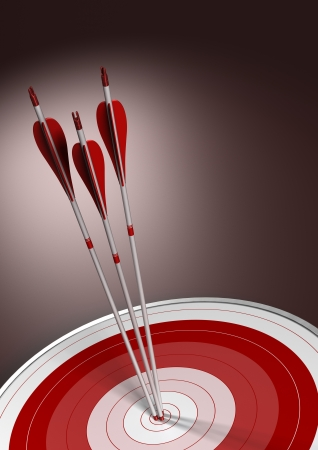 room for text: Three arrows hitting the center of a red target, vectical business concept background with room for text
