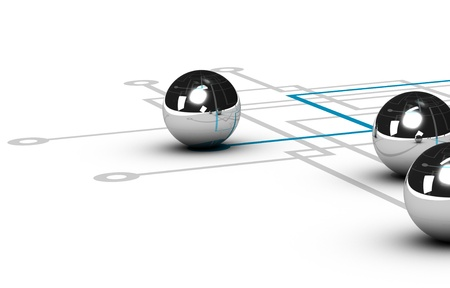 linking: chrome ball linked by a blue line, grey network with other balls, illustration over white background, concept of networking