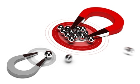 horseshoe magnet with many balls on a red target, plus one small grey dart, 3d render image over white background photo