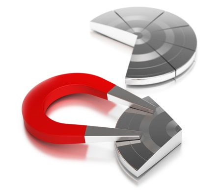 caching: Metal pie chart symbol of market share with a red horseshoe magnet caching the largest part