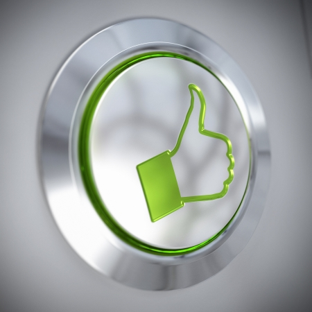rated: thumbs up symbol on a metal button, green color and light, like concept