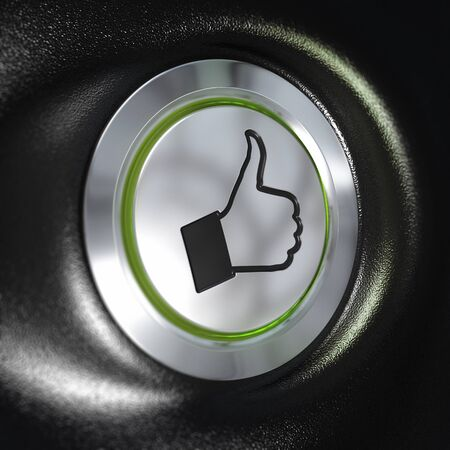 close up of a metallic button with a hand and thumbs up symbol, green light, blur effect, automotive concept of quality photo