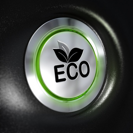 3d mode: close up of a metallic eco button, green light, blur effect, automotive enrgy saving system concept  Black background Stock Photo