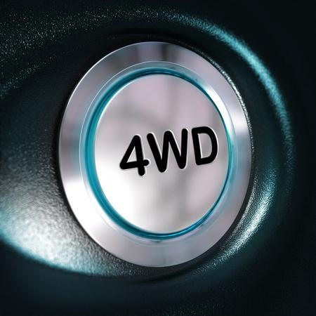 four wheel drive: Close up of a metallic 4WD button, blue light, blur effect, automotive 4x4 switch concept  Black background Stock Photo