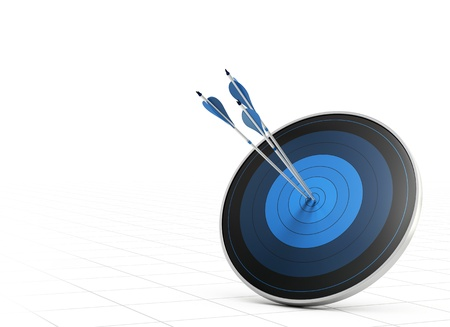 Three blue arrows hitting the center of a blue target or dart, white background with perspective, concept of performance or goal Stock Photo - 17512070
