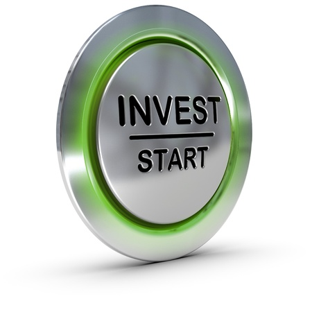 best security: invest start button over white background, concept of investment and risk management Stock Photo