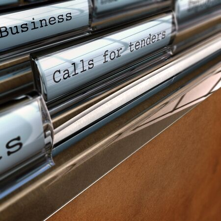 Call for tender written on a folder, perspective view with blur effect concept of business opportunities  Stock Photo