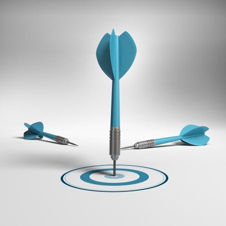 proposito: Un dardo dar en el blanco, el blanco es azul hay dos dardos otro no alcanzar el concepto de negocio objetivo