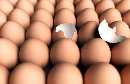 competitividad: Un huevo roto en el medio de muchos huevos enteros, efecto borroso con la profundidad de campo, concepto de singularidad