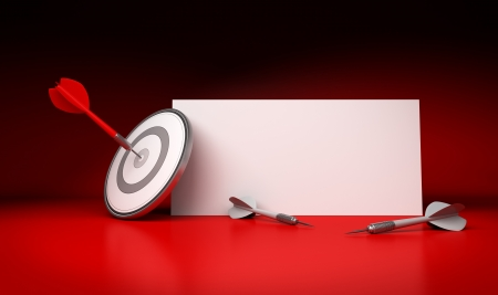 one dart hitting the center of a target with a white blank sign at the background for communication purpose, two grey arrows fails to hit the dartboard, red backdrop