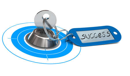 keyring: Key and keyring whit the word success handwritten on it, metal lock and blue target, white background Stock Photo