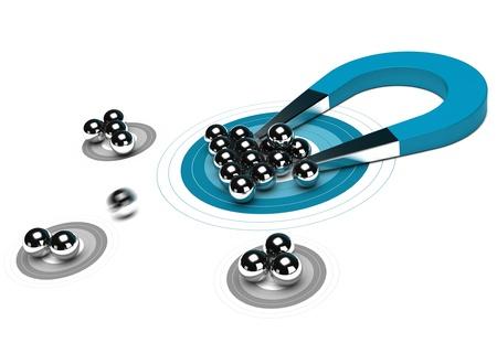 magnetismo: Uno blu magnete a ferro di cavallo attirando sfere di metallo nel centro di un bersaglio, sfondo bianco