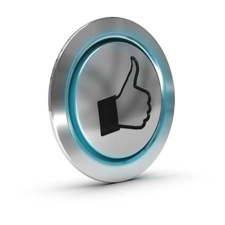 Close up of a metallic button with a hand and thumbs up symbol, blue light effect, white background Stock Photo - 17730582