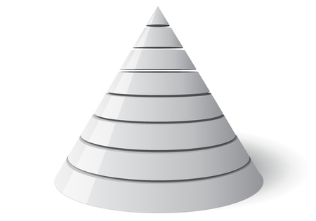 conical: Eight level conical shape, easily customizable from 1 to 8 slices  The cone is white with a shadow on the floor