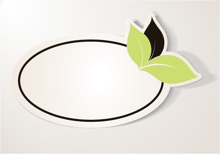 Realistic green eco friendly sticker over beige background  The label contains three leaves, two green and one brown leaf, oval shape  Design element for communication  Vector