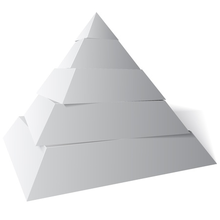 Five level pyramid shape, The vector illustration is white and grey with a shadow on the floor