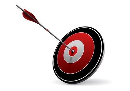 target market: One arrow hitting the center of a red target  Vector image over white  Modern design for business or marketing purpose