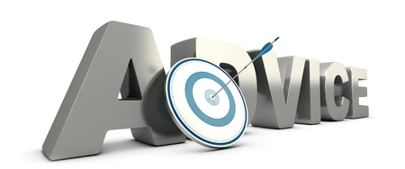 adviser: Word advice in 3D with a blue target and a arrow hitting the center  Consulting concept