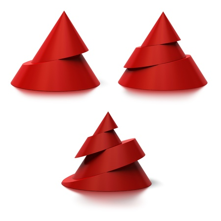 three layered: Two, three and four levels conical shapes, The cones are red with a shadow on the floor, white background