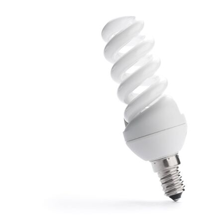 low-energy lightbulb over white background with shadow