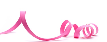 Pink ribbon over white background, design element