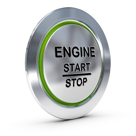 starter: Start and stop keyless ignition button over white background with green light, engine starter concept