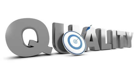 improving: Word quality  written in 3D with a target and one arrow hitting the mark, white background