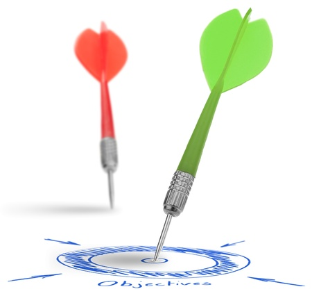 better performance: two darts on a white background, concept for success and reach a target, one dart reach it