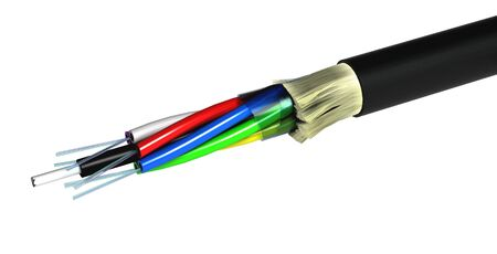 optic fiber: Stripped optical fiber cable isolated over white background