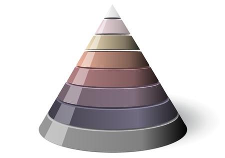 Ocho nivel cónica, fácilmente personalizable 1 a 8 porciones. El cono es de color blanco con una sombra en el suelo