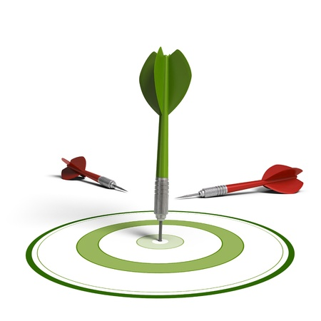 better performance: One green dart hit the center of the dartboard and two red darts failed to hit the objective, white background, improving results concept