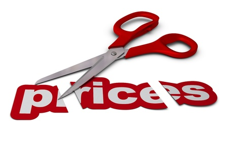 bargain: word prices cut in three parts with red scissors, white background