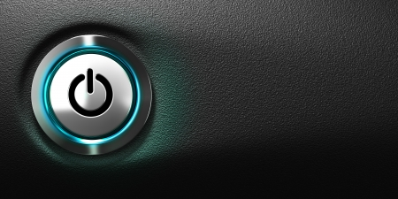 pushed: pushed power button of a computer with blue light, black background with free space for text, horizontal banner format