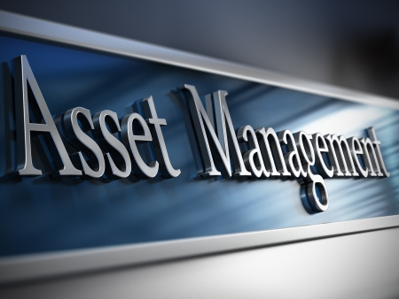 managing: Asset management plaque in front of a building with depth of field effect and blue tones