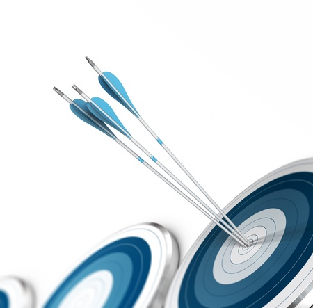 Three arrow hits the center of a blue target, there is other dartboards around  White background  Image suitable for the bottom of a page  Stock Photo - 18592789