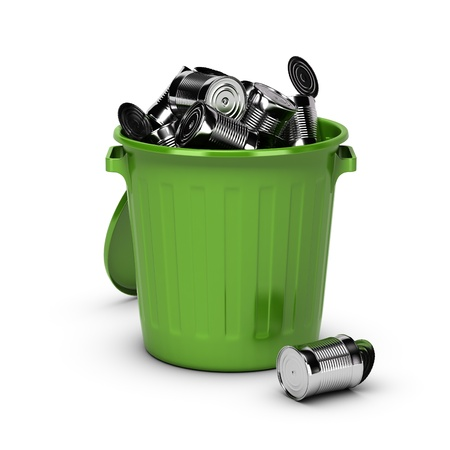 grabber: green bin full of used metal cans over white background  Stock Photo