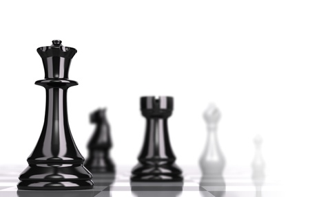 Chessboard with black and white pieces over white background and focus one the queen with blur effect, concept for business strategy Stock Photo