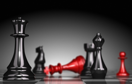 competitive business: Close up of a chessboard with selective focus on the queen blur effect the red king is checkmate light effect a the background 3D render