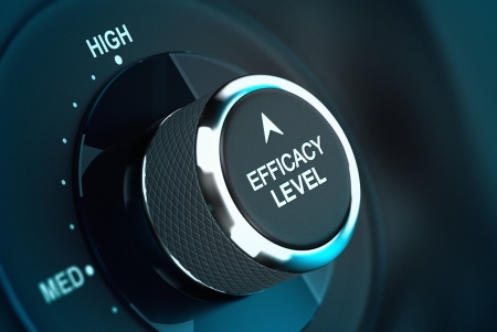 efficacy: Self efficacy level button over black and blue background, conceptual image to illustrate efficiency or performance management