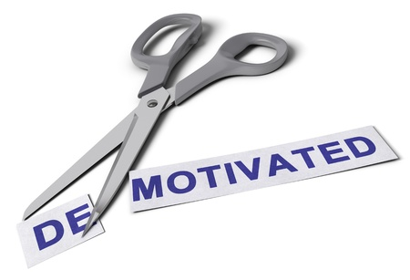demotivated: Scissors cut the word demotivated in two parts, the first one with the suffix re and the second one with the word motivated, conceptual image for motivation