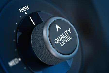 control de calidad: Button donde est� escrito el nivel de calidad y la palabra alta, el concepto de gesti�n de la calidad