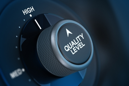 expertise concept: Button where it is written quality level and the word high, concept of quality management