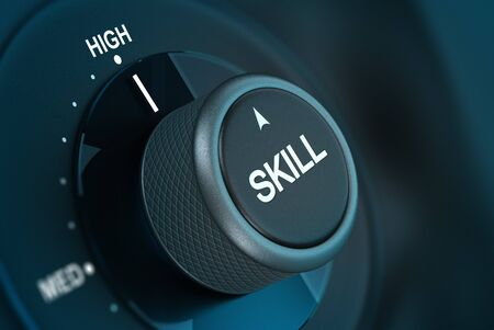 competency: Word skill written on a button pointing on the word high 3D render over blue and black background Stock Photo